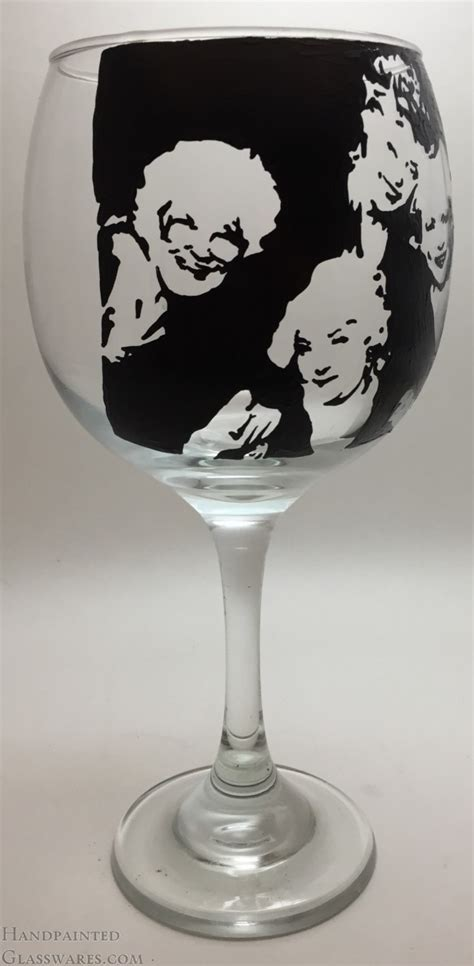 Golden Girls Inverted Silhouette Hand Painted Wine Glass