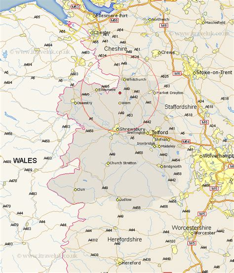 Whixall Map - Street and Road Maps of Shropshire England UK